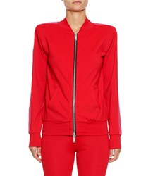 Unravel Boxy Zip Front Side Stripe Track Jacket Red Pattern