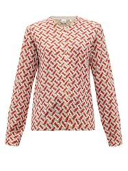 Burberry Tb Print Wool Cardigan Red