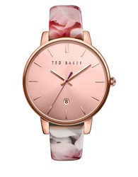 Ted Baker Kate Round Floral Print Leather Strap Analog Watch
