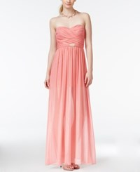 Teeze Me Juniors' Ruched Chiffon Sweetheart Gown Guava