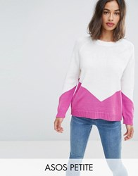 Asos Petite Chunky Jumper With Chevron Pink