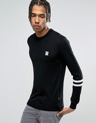 Love Moschino Sleeve Stripe Jumper With Chest Print Black