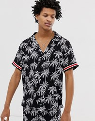 Sixth June Co Ord Revere Collar Shirt In Palm Print Black