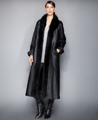 The Fur Vault Fox Trim And Rabbit Fur Lined Leather Maxi Coat Black Black