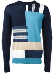 Salvatore Ferragamo Patterned Stripe Jumper Blue