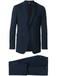 Burberry Microcheck Slim Fit Suit Blue