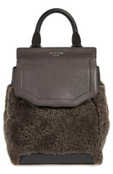 Rag And Bone Small Pilot Leather Genuine Shearling Backpack Grey Granite Shearling