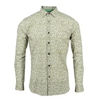 Lords Of Harlech Nigel Shirt In Olive Leaf Print Green