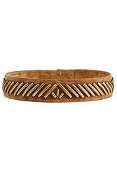Alberta Ferretti Embellished Suede Belt Brown