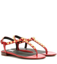 Balenciaga Giant Studded Leather Sandals Red
