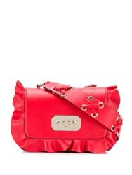 Red Valentino V Ruffle Trimmed Cross Red