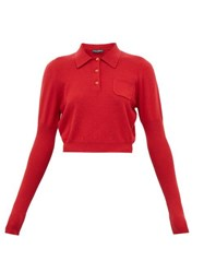 Dolce And Gabbana Cropped Cashmere Polo Shirt Red