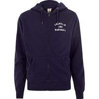 River Island Mens Navy Franklin And Marshall Zip Front Hoodie