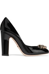 Dolce And Gabbana Embellished Patent Leather Pumps Black