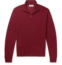 Canali Merino Wool Half Zip Sweater Burgundy