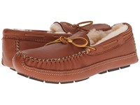 Minnetonka Sheepskin Lined Moose Slipper Carmel Moose Men's Moccasin Shoes Brown