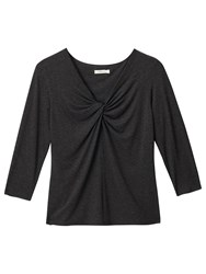 Precis Petite Karla V Neck Knot Jersey Top Dark Grey