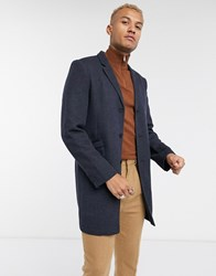 Only And Sons Smart Jersey Overcoat In Navy