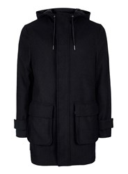 Topman Navy Wool Rich Parka Blue