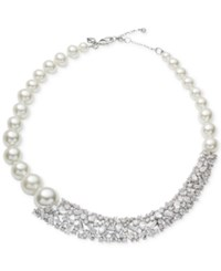 Carolee Silver Tone Crystal And Imitation Pearl Collar Necklace White