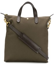 Mismo Leather Trim Tote Brown