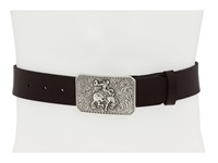 Mandf Western Vintage Leather Belt W Antiqued Cowboy Buckle Brown Men's Belts