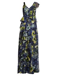 Erdem Cece Hasu Night Print V Neck Silk Gown Navy Multi