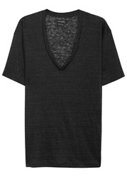 Isabel Marant Maree Charcoal Slubbed Linen T Shirt Dark Grey