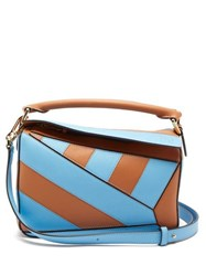 Loewe Puzzle Small Striped Leather Cross Body Bag Tan Multi