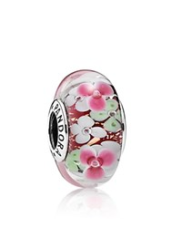 Pandora Design Pandora Charm Sterling Silver And Glass Flower Pink