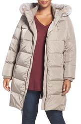 Gallery Plus Size Women's Hooded Down And Feather Fill Stadium Coat With Faux Fur Trim Greige