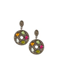 Bavna Mixed Tourmaline And Diamond Drop Earrings