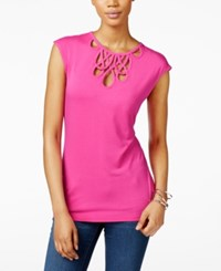 Inc International Concepts Cutout Cap Sleeve Top Only At Macy's Intense Pink