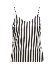 Morgan Lane Mackenzie Striped Silk Camisole Top Black White
