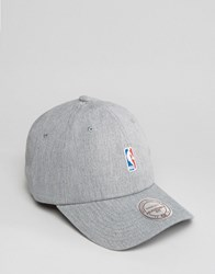 Mitchell And Ness Adjustable Cap Nba Logo Grey
