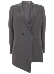 Mint Velvet Smoke Cupro Front Knitted Jacket Grey