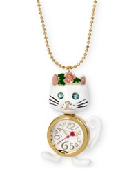 Betsey Johnson Gold Tone Cat And Clock Pendant Necklace