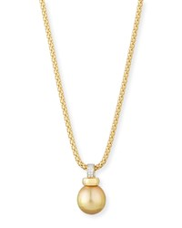 18K Gold Golden South Sea Pearl Pendant Necklace Belpearl Blue