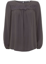 Mint Velvet Steel Lace Insert Yoke Top Grey