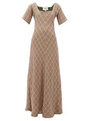 Ace And Jig Jamie Check Jacquard Flared Cotton Maxi Dress Multi