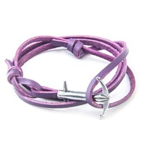Anchor And Crew Admiral Leather And Silver Bracelet Purple