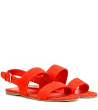 Loro Piana Loa Suede Sandals Red