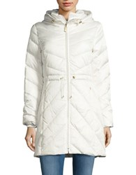 Ellen Tracy Chevron Quilted Down Jacket White