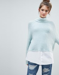 Urban Bliss High Neck Knit With Shirting Blue