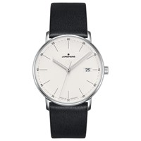 Junghans 041 4884.00 Unisex Form Date Leather Strap Watch Black White