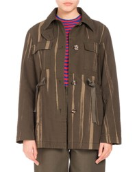 Proenza Schouler Four Pocket Printed Canvas Coat Army Green
