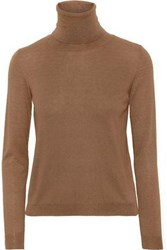Red Valentino Redvalentino Woman Cashmere And Silk Blend Turtleneck Sweater Light Brown