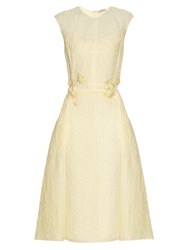Nina Ricci Floral Embellished Silk Blend Cloque Dress Light Yellow