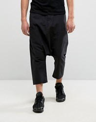Asos Extreme Drop Crotch Trousers With Side Pockets In Black Linen Mix Black