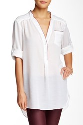 Zoa Contrast Trim Single Pocket Tunic White